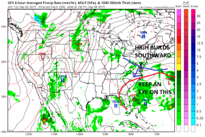 GFS 54 HR FRIDAY 2PM BACKDOOR PUSHES SOUTH..LOWS OFF SE US COASTLINE