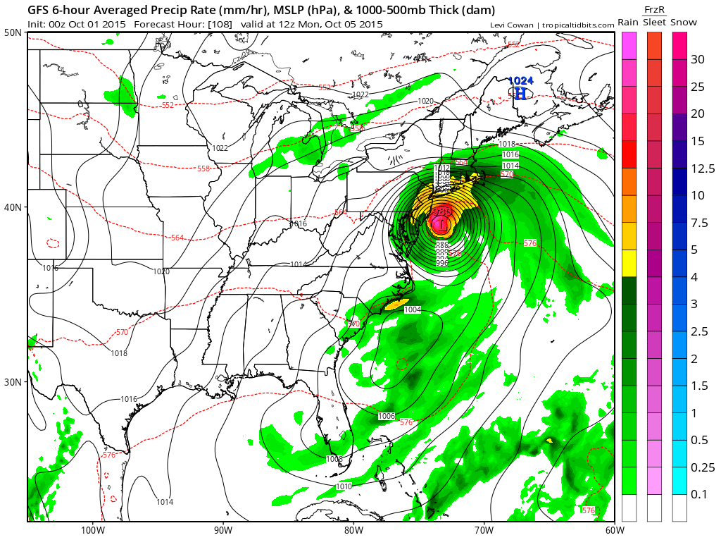 gfs model brings hurricane joaquin to nj nyc long island but is it