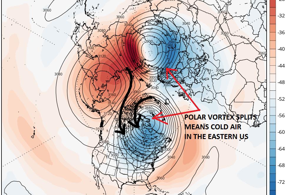 Polar Vortex Split GFS Forecast