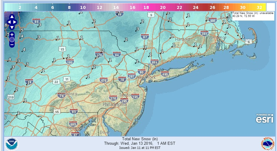 snow for nyc snowfall forecast