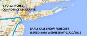 Long Island Snowfall Forecast