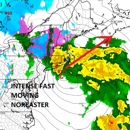noreaster moves fast