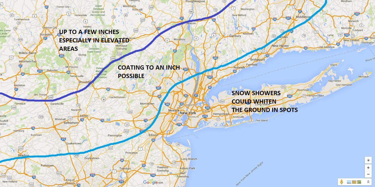 snow amounts, snow for nyc