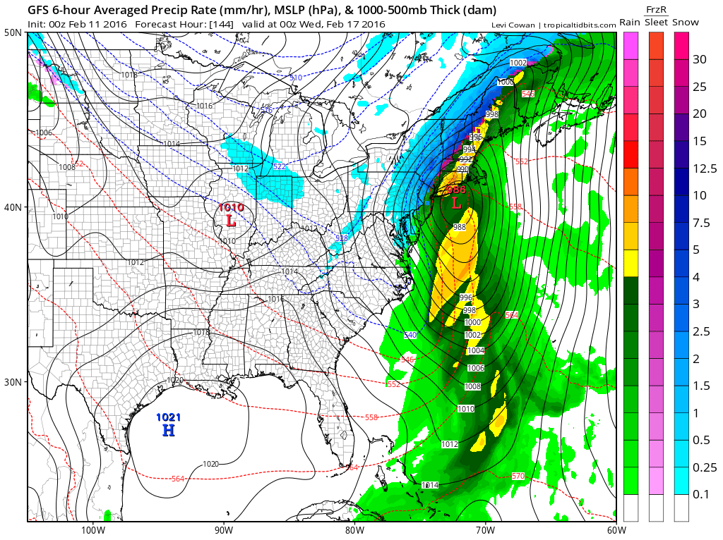 GFS Long Range Model Winter Storm Threat