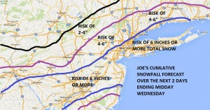 Snowfall Forecast Risk Through Wednesday Winter Storm Warning New Jersey South of 195