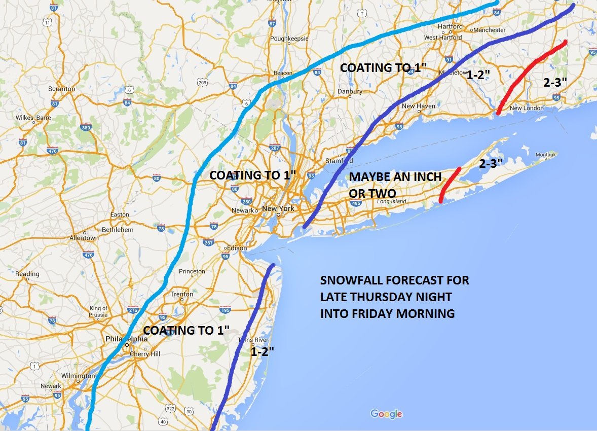 Snow Accumulation Forecast For Friday AM