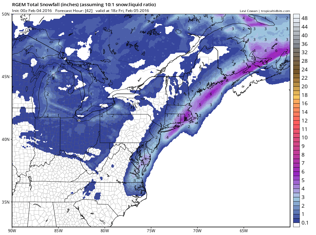RGEM Model Snowfall Forecast