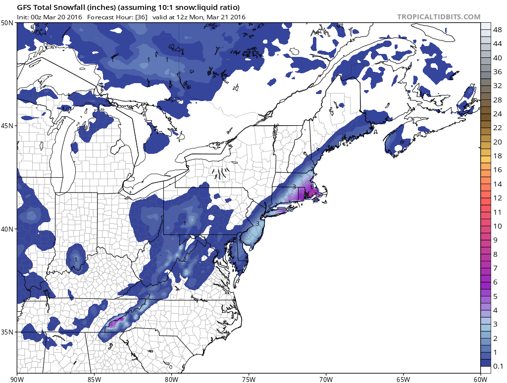 National Weather Service Snowfall Forecasts Sunday 5AM
