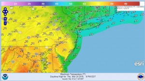 thursday Highs Today Twenty Five Degree Spread