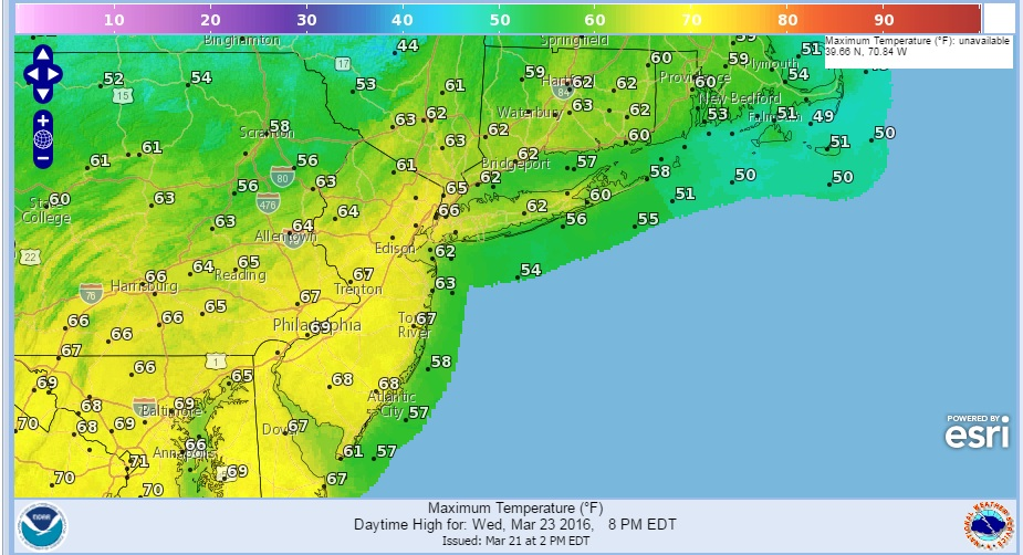 Warmer Air Moving East