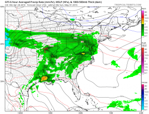 gfs72 Afternoon Rain Spreading Northeast