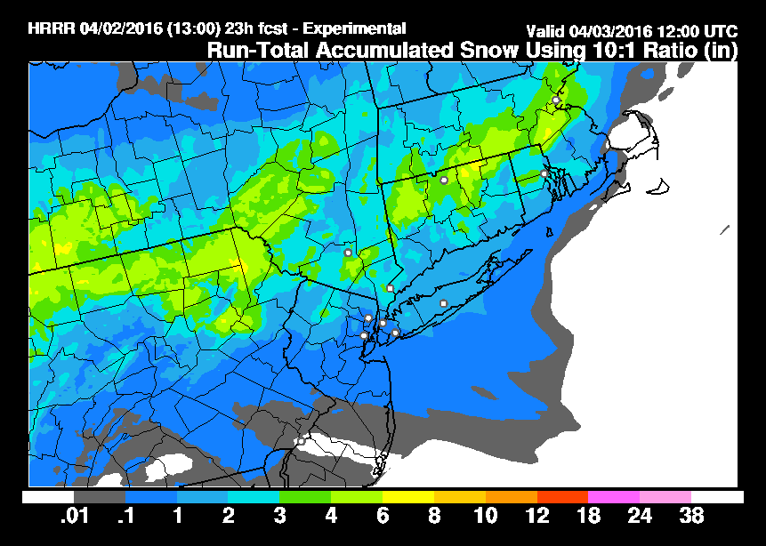 HRRR Model Snowfall Wind Forecast