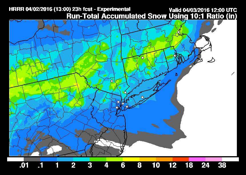 HRRR Model Snowfall Wind Forecast