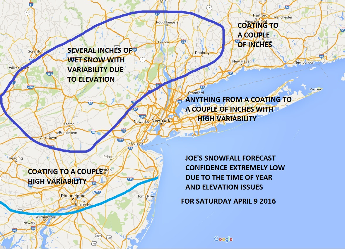 Snowfall Forecast Saturday April 9