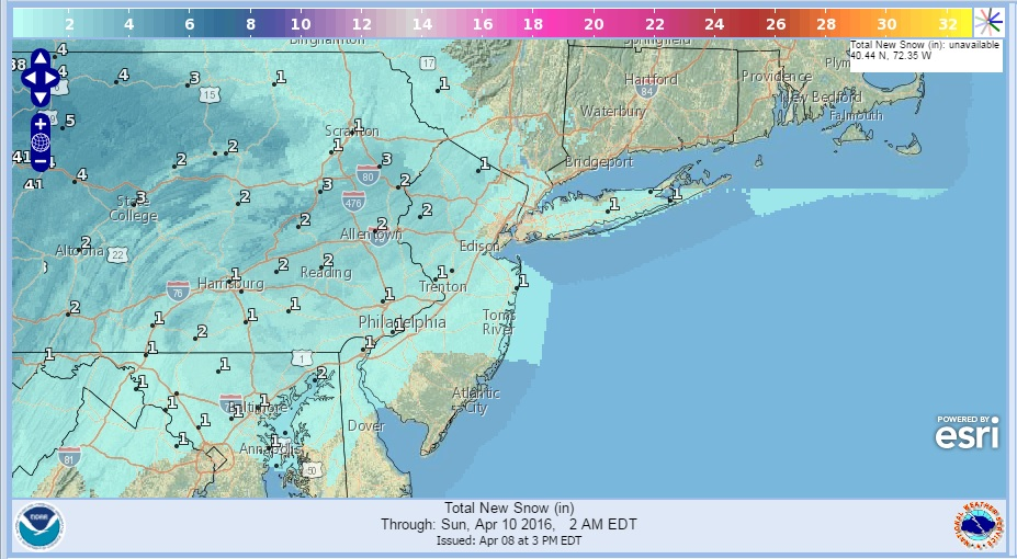 National Weather Service Updated Snowfall Forecasts