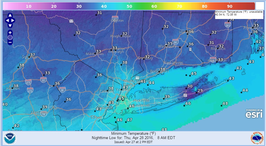 Freeze Warning Hudson Valley Interior Connecticut