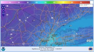 wednesday Freeze Warning Northern NJ Hudson Valley