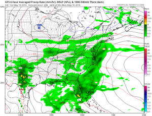 gfs36 Windy Afternoon Rain Late Tuesday