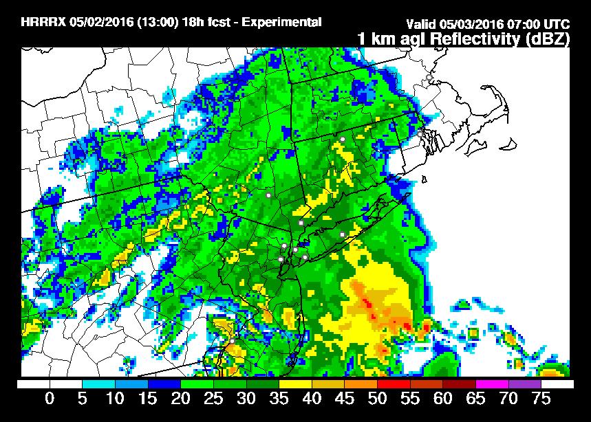 HRRR Model Rain Coming Overnight