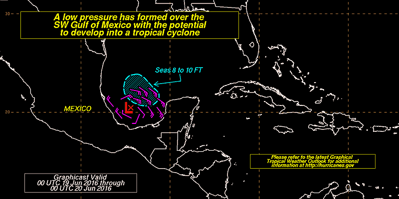 Tropical Depression Forming SW Gulf of Mexico