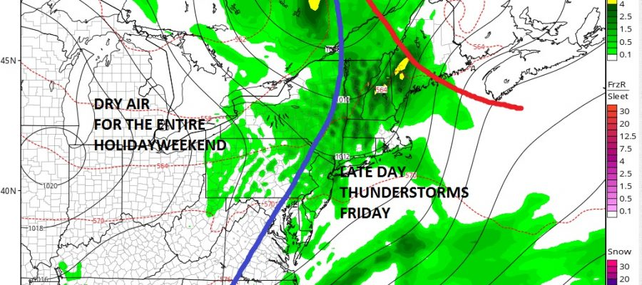 Thursday's Weather Looking Good Friday Thunderstorms Holiday Weekend Dry With Sunshine