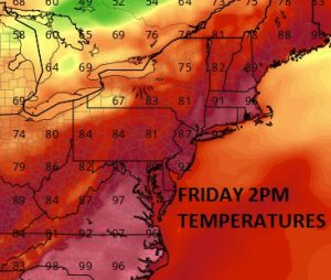 TEMPS High Humidity Midweek Hot Dry Friday