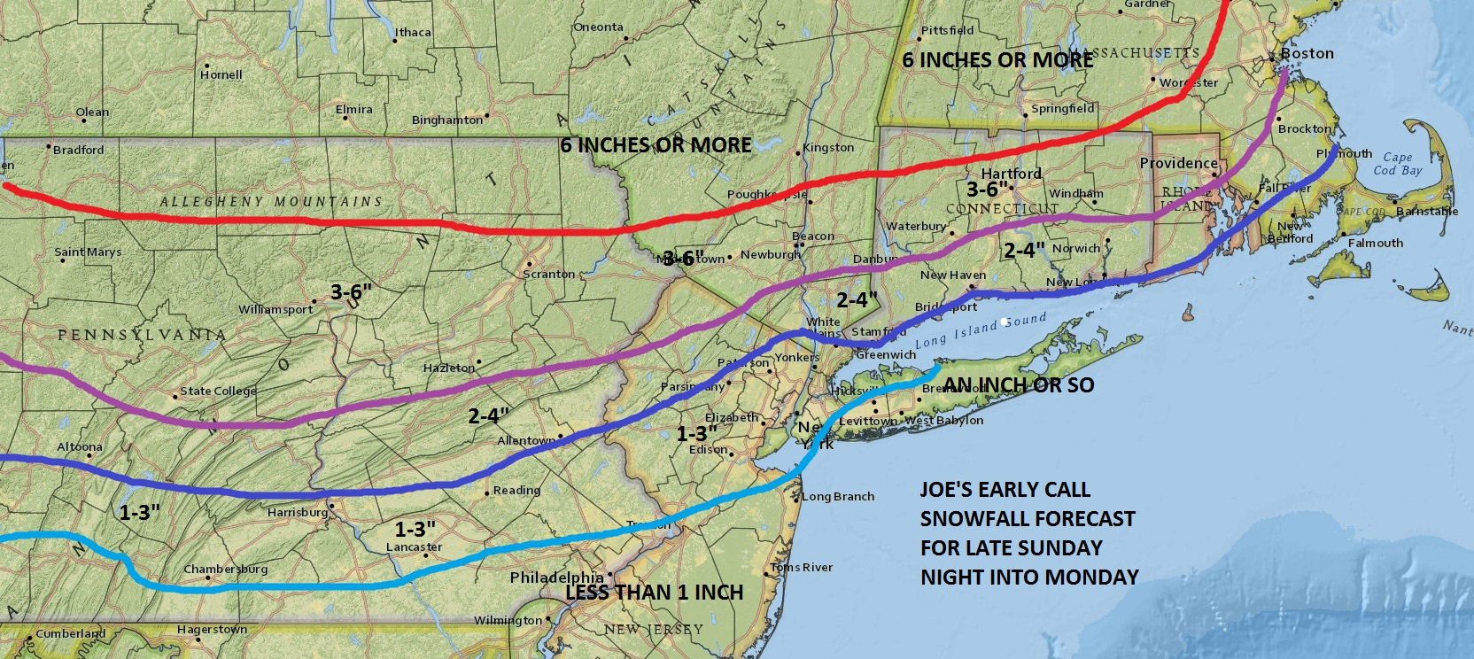 Snow Forecast Maps New Jersey New York Connecticut - Weather Updates ...