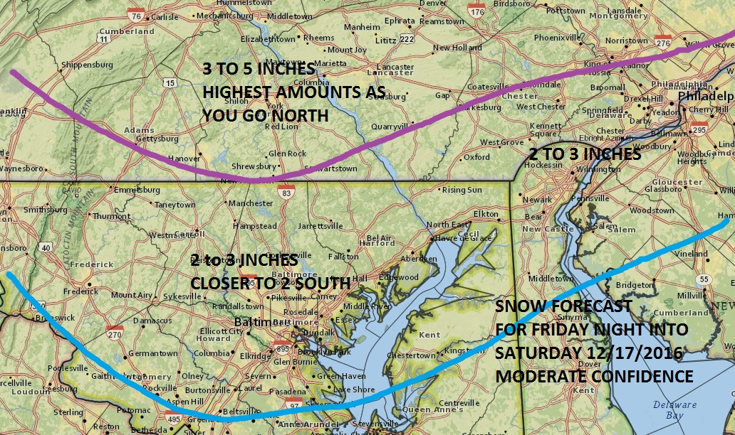 Snow Forecast South Central PA North Central Maryland ...