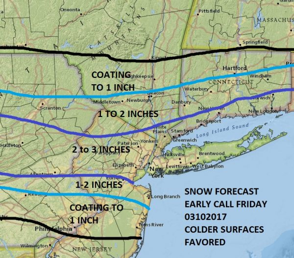 National Weather Service Snow Forecast Friday 03102017