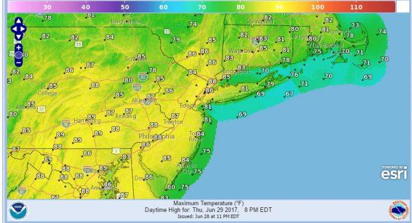 heat humidity moving eastward