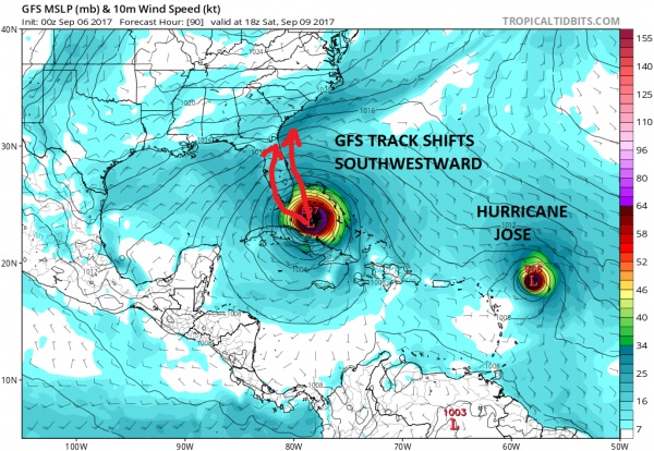 Irma Near Barbuda MPH Florida Southeast US Risk Increasing - Map of cuba and southeast us