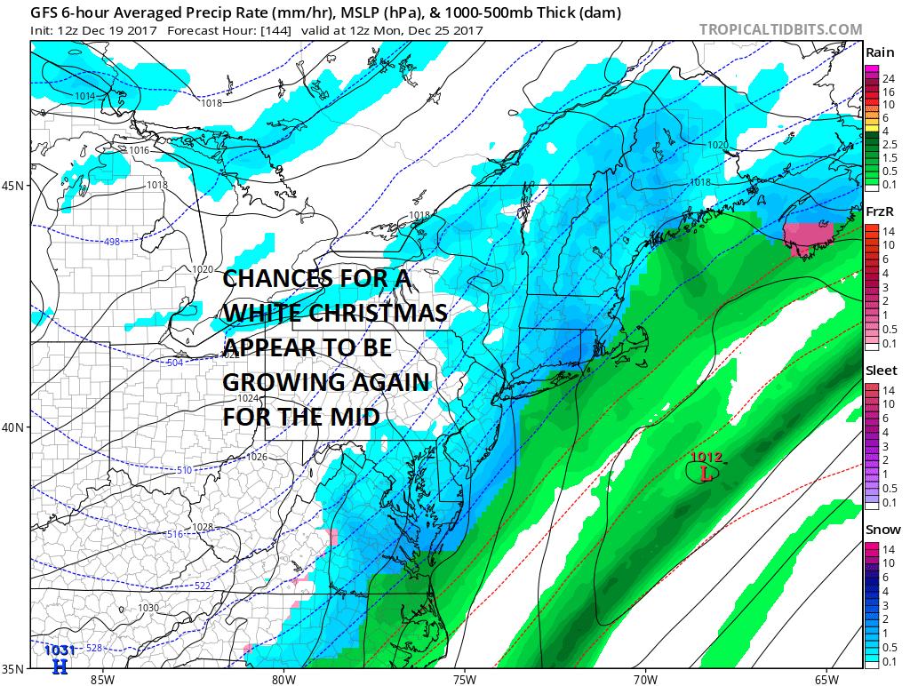 White Christmas Forecast.White Christmas Possibility Northeast Mid Atlantic 12252017