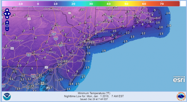 snow forecast new years day lows