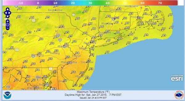 snow showers weekend dry warm