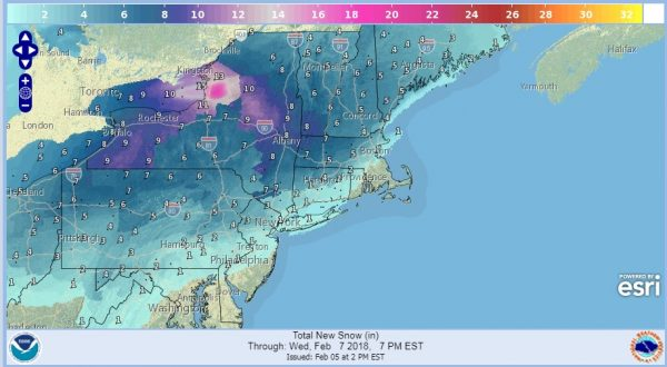 Winter Storm Watch Posted Large Area Of The Northeast Snow Forecast Maps Updated