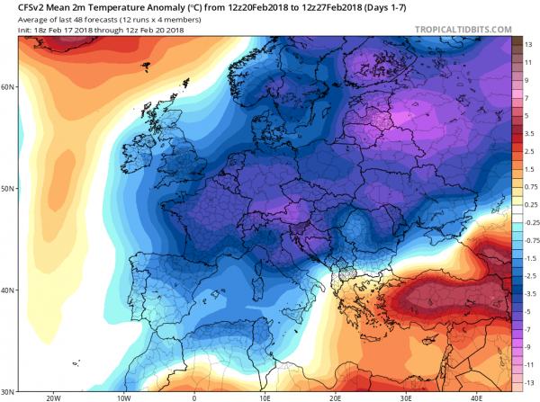 Siberia Invades Europe As Strong Blocking Develops Long Range