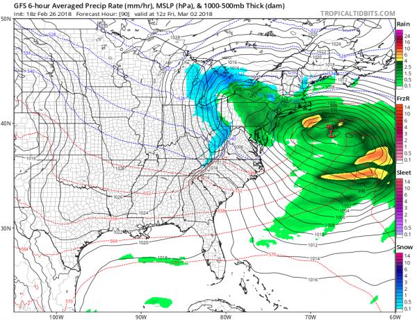 Clearing Skies Eastern US Coastal Storm Late Week