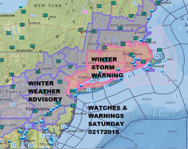 Winter Storm Warning NE New Jersey Hudson Valley Parts of NYC & Long Island
