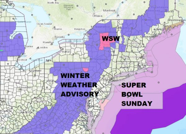Super Bowl Sunday Winter Weather Advisory NE Pennsylvania Catskills