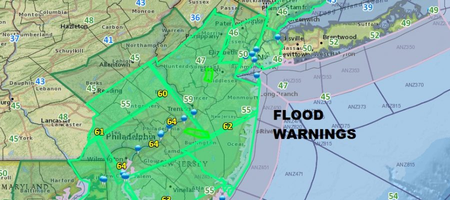 Flood Warning New Jersey Severe Thunderstorms Developing