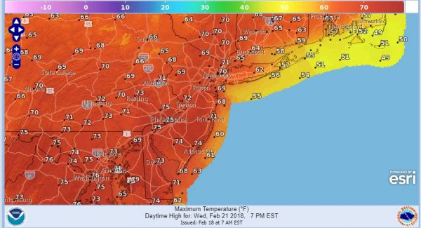 Spring Temperatures Tuesday Wednesday 70s