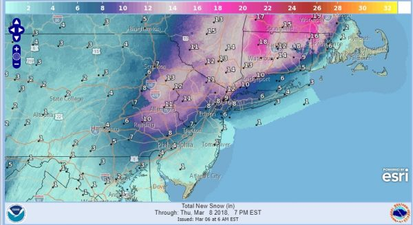 Winter Storm Warning National Weather Service Snow Forecast Maps Updated 03072018
