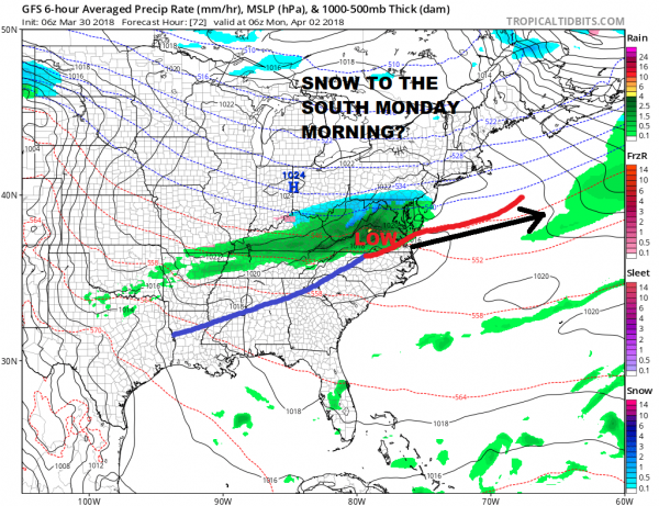 Showers Moving East Today, Nice Weekend, Snow Monday Morning?