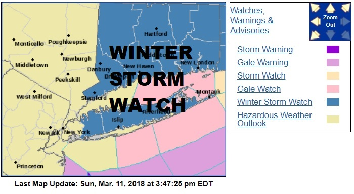 Winter Storm Watch Long Island Connecticut Southeastern New