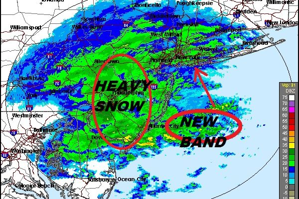 Snow Tonight Shifts East NYC Long Island Connecticut