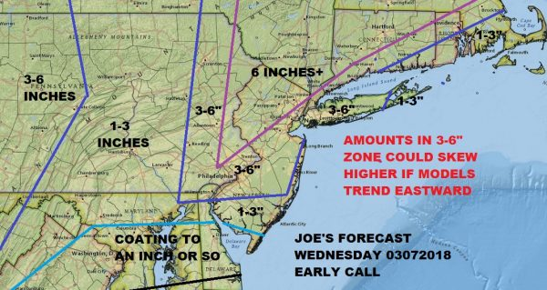 Noreaster Part 2 Joe's Snow Forecast Map 03072018 Winter Storm Warning Eastern Pennsylvania NYC Philadelphia Southern New England