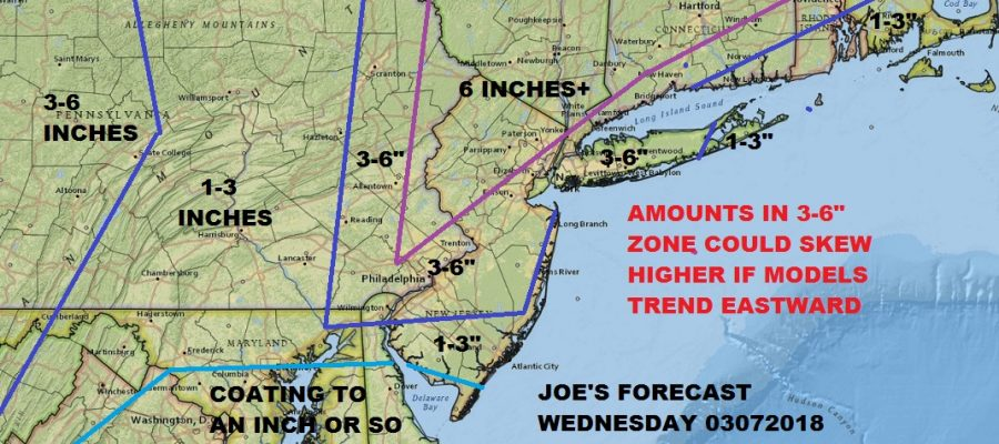 Noreaster Part 2 Joe's Snow Forecast Map 03072018