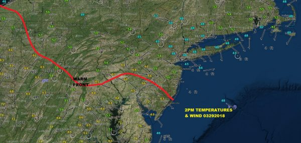 Warm Front Brings 70s Near Onshore Flow Keeps 40s Nearby