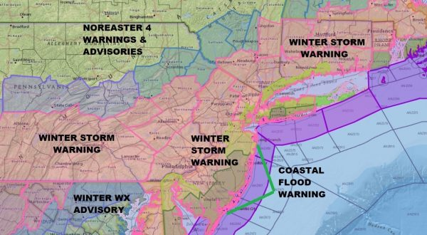 Spring Winter Storm #Foureaster Getting Underway Winter Storm Warnings Winter Storm Warnings Philadelphia NYC Boston Watch Baltimore Washington DC