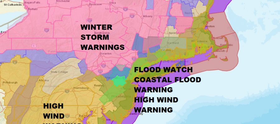 Noreaster Underway National Weather Service Snow Forecast Maps
